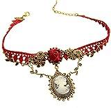 Europäisch Stil Königliche Retro Rot Lace Legierung Anhänger Rot Rose Handgefertigt Für Maskerade Damen Halskette