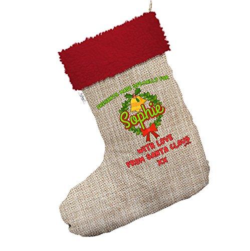 Bell Kranz Weihnachten personalisierbar Jumbo Sackleinen Weihnachten Strümpfe Socken mit rotem Rand (Sackleinen Kranz Weihnachten)