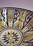 Orientalische Keramikschale Keramikteller Rund Amsah Ø 30cm Groß | farbige marokkanische Keramik Schale Teller bunt aus Marokko | Orient große Keramikschalen flach Geschirr orientalisch handbemalt Test