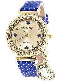 3e696c8cf346 VANKER Cristal Rhinestone de lujo de cuero de imitación Banda Corazón  colgante reloj de cuarzo (