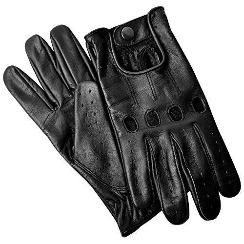 Hand Fellow Herren Leder Chauffeur Vintage Retro Style ohne Futter Fahrhandschuhe (Schwarz, X-Large) - Klassische, Ungefütterte Handschuhe