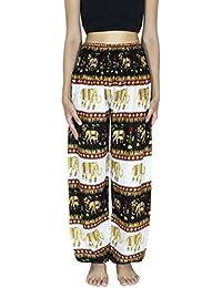 fb513dfde70 BANJAMATH® Women s Smocked Waist Harem Hippie Trousers Boho Yoga Bohemian  Pants