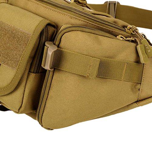 MagiDeal Große Taktische Hüfttasche Militärische Gürteltasche mit Reißverschluss für Outdoor Sport Trekking Wandern Multifunktionale Bauchtasche Braun