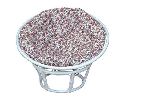 moebel direkt online Papasansessel, Durchmesser 100 cm Sessel mit Kissen weiß