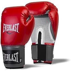 everalst hombre Pro Style–Guantes de boxeo (para entrenamiento, gris/rojo, 14oz