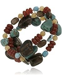 Bracelet extensible en argent sterling à pépites d'aragonite, turquoise crée, cornaline et quartz fumé
