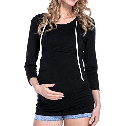 Mutterschaft Langarm Stillzeit Kapuzenpullover Stillshirt Stilltop Bluse Tee Schwanger Frauen Basic Kleidung Umstandsmode Nursing Baby T-Shirt Tops (Schwarz, 2XL)