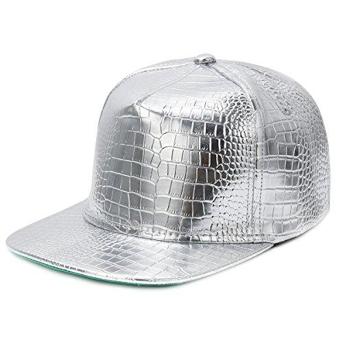 Cusfull Baseball Kappe Metallic Glitzer Baseballmütze Serpentin Glänzend Casual Snapback PU Leder Hut (Silber)