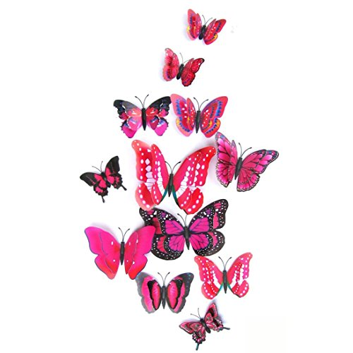 (FORH 12 PCS 3D Schmetterlinge Wanddeko Aufkleber Abziehbilder Wand Aufkleber Hauptdekorationen Wandtattoo Schmetterlings Regenbogen Wand-dekor Kinder Baby Schlafzimmer Deko (Rot))
