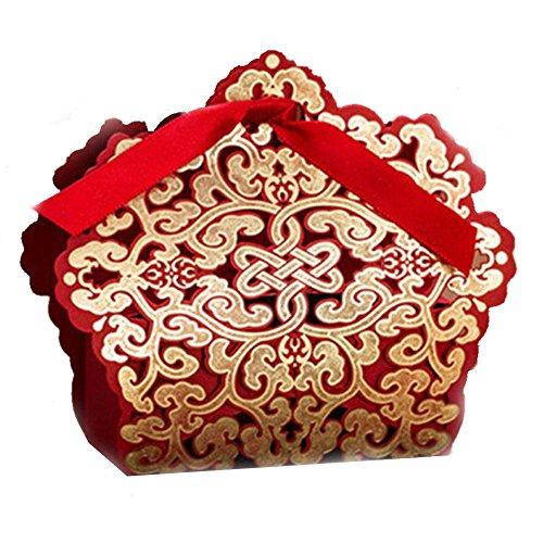 Blue Vessel 100 Stück Rot Spitze Laser Cut Kuchen Süßigkeiten Geschenkboxen mit Ribbon Wedding Favor Boxen (Blue Wedding Favor Boxes)