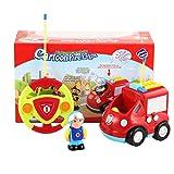 Mouchao Camion de Pompiers de Dessin animé de télécommande 2 canaux Musique et lumière et Jouet sonore