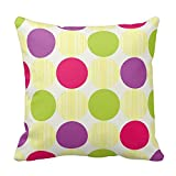 Bags-Online Multicolor Polka Dots Decorative Pillow Case Cushion Cover, Yellow Green Pink and Purple