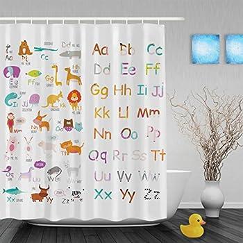 Cute Cartoon Animals Educational Alphabet Letters Kids Nursery ...