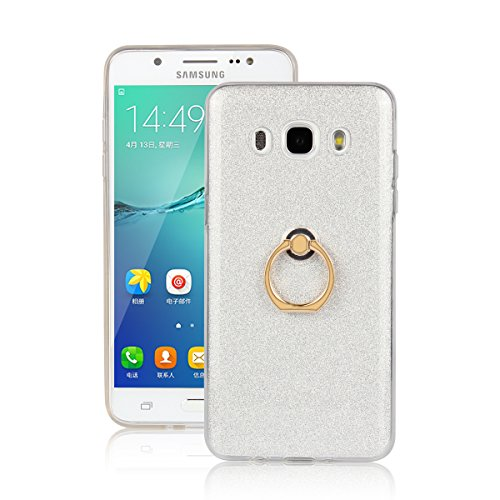 Skitic Bling Glitter Sticker Pellicola Custodia per Samsung Galaxy J7 (2016), Lusso Ultra Sottile Morbido TPU Bumper Brillare Posteriore Protettiva Case Cover con 360 Degree Rotating Metallo Ring Stand Holder - Bianca