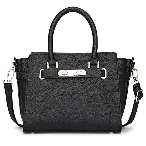 fanhappygo Fashion Retro Leder Damen elegant Bat taschen Schulterbeutel Umhängetaschen Abendtaschen schwarz