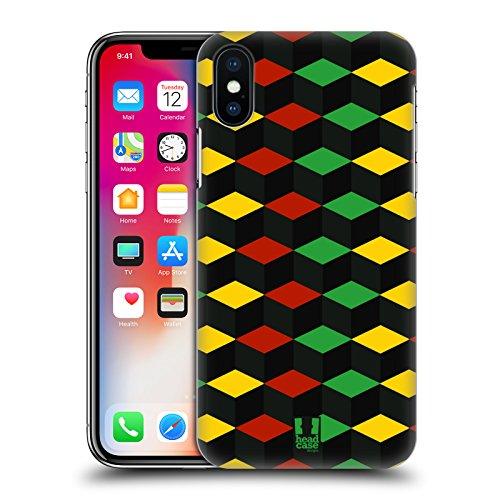 Head Case Designs Azteco Pattern Rasta Colorati Cover Retro Rigida per Apple iPhone X Cubismo