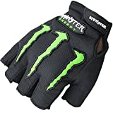 #9: Monster Half Finger Motorcycle Riding Gloves (Black, L)