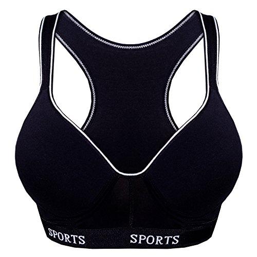 2er Pack L&K-II Damen Sport BH (ohne Bügel) Fitness DDU3705 Schwarz 75-80B
