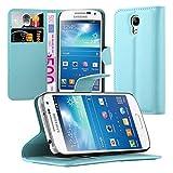 Cadorabo Hülle für Samsung Galaxy S4 Mini - Hülle in Pastel BLAU – Handyhülle mit Kartenfach und Standfunktion - Case Cover Schutzhülle Etui Tasche Book Klapp Style