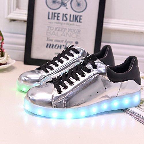 [+Piccolo asciugamano]Luci LED colorati bagliore e ricarica scarpe dargento nuovo scarpe casual USB maschio luminoso e di coppia scarpe femmin c2
