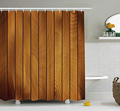 HOJJP Brown Shower Curtain, Wooden Plank Texture Tree Timber Floor Style Natural Illustration, Fabric Bathroom Decor Set with Hooks, 60W X 72L Inche, Dark Brown Light Brown Uhr Jack