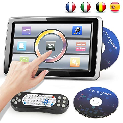 DVD Player Auto Kopfstütze mit 10.1 zoll Tragbar Auto TouchScreen 1080P Einstellbarer Winkel Video/USB/SD-Card/FM-Sender Gamepad und 8 bits Spiele CD angeboten Bedienungsanleitung auf Deutsch
