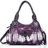 angel kiss Damen Handtasche Schultertasche PU Leder Top Griff Satchel Tote Bag, Ak812-2z Purple,...
