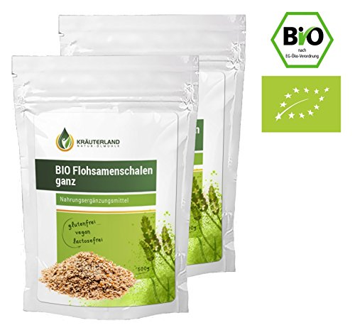 Kräuterland Bio Flohsamenschalen, ganz, hier ab 8,90, 1000g, Premiumqualität, reich an Ballastoffen, Superfood, backen, abnehmen und Diät, aus indischen Flohsamen (Bio: 2x500g)