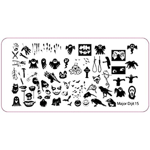 uñas halloween Sannysis Nail Art Imagen Impresión Estampación placas Herramienta DIY (05)