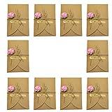 10x chytaii Grußkarte aus Kraftpapier mit Umschlag Jungfrau für Geburtstag Party Hochzeit Dekoration Geschenke mit künstlichen Blume und Schnur–klein rosé