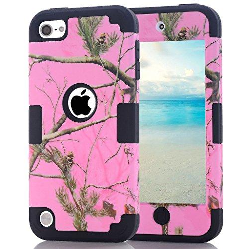iPod Touch 6. Generation Camouflage Case, hocase Heavy Duty stoßfest Hybrid Silikon Gummi Bumper + Hard Shell Schutzhülle für iPod Touch 5./6. Generation-Pink/Schwarz - Bumper Ipod Schwarz Case 5