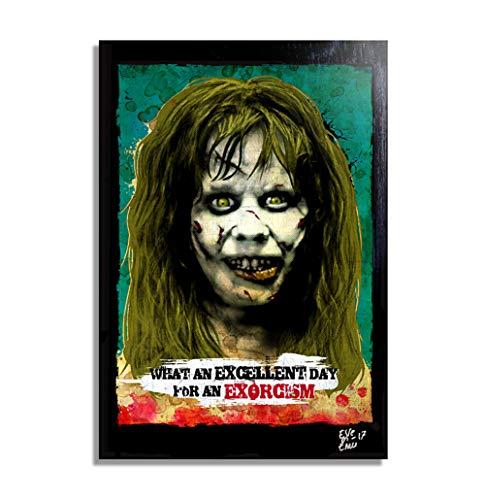 Regan aus film The Exorcist (Der Exorzist) - Original Gerahmt Fine Art Malerei, Pop-Art, Poster, Leinwand, Artwork, Film Plakat, Leinwanddruck
