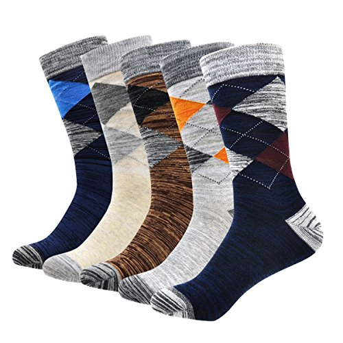 Men's Socks, Okiss Men's Cotton Dress Socks Colorful Patterned Winter Thick Socks, Comfortable, Breathable, Office and Suit Socks with smooth toe seams(5-pack Argyle)