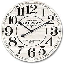 Mobili Rebecca® Reloj de Pared Madera Mdf Metal Design Vintage Redondo Cocina Salón Ø 60 cm (Cod. RE4979)