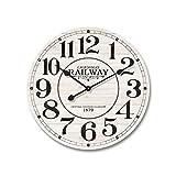 Mobili Rebecca® Orologio da Muro Legno Mdf Metallo Design Vintage Tondo Cucina Sala Ø 60 cm (Cod. RE4979)