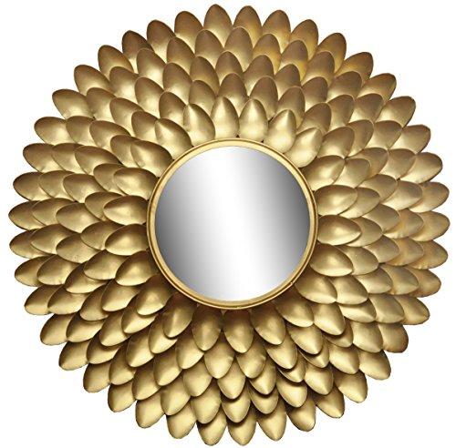 Logam Starburst Gold Round Mirror