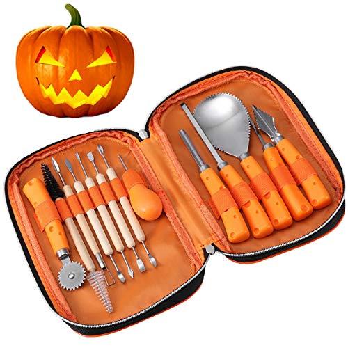 iBaseToy Halloween Kürbis Schnitz Tool Kit, 13 Stück Professionelles Kürbis Schnitzset, Einfaches Schnitzen von Halloween Kürbis Dekorationen von Creative Jack-O-Lantern Carving