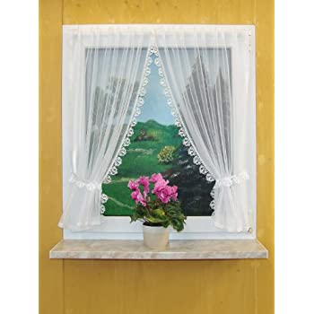 landhausgardinen set 3 teilig scheibengardine 2 raffschals raffhalter b110cm x 120cm h he. Black Bedroom Furniture Sets. Home Design Ideas