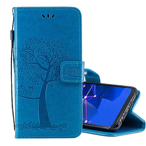 Nadoli Flip Handyhülle für Galaxy M30,Schutzhülle Pu Leder Lustig Geprägt Baum Eule Magnetverschluss Wallet Brieftasche Lederhülle Etui mit Standfunktion für Samsung Galaxy M30 (Baby Monitor Activity)