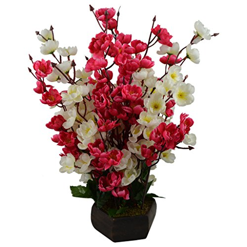 Thefancymart artificial Cherry Blossom flower plant with Wood Pot ( Height 18 inchs/ 45 cms)
