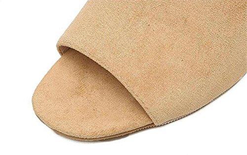 LDMB Frauen Sommer Peep Toe hochhackigen coolen Pantoffeln dicken wulstigen rutschfesten dicken Boden des Wortes schleppte mit Hausschuhen weiblich apricot