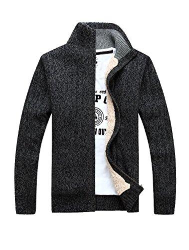 MatchLife Herren Stehkragen Pullover Reißverschluss Mantel Style1-Grau-Fleece