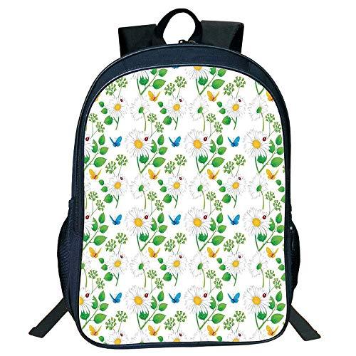 HOJJP Schultasche Stylish Unisex School Students Black Ladybugs,Macro Chamomiles Ladybugs Illustration Playful Magic Spirits The Nature,White Green Kids,