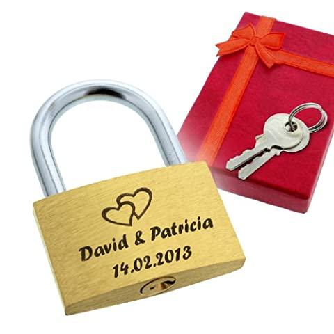 Cadenas d'amour avec votre personnalisation - Gravure de votre choix - Livré dans un écrin rouge avec ruban - A offrir en cadeau de déclaration