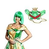 Kostümplanet Froschkönigin Set Perücke mit Tasche Damen