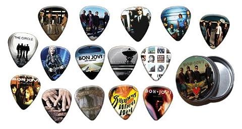 Bon Jovi Boite Rangement pour Médiator & Pack de 15 Médiators (Gold Edition)