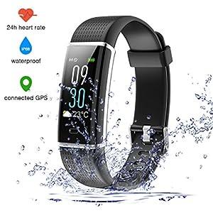 Pulsera Actividad Inteligente Impermeable IP68 Pantalla 0.96'' a Color 14 Modalidades 12-15 días Monitor de Ritmo Cardíaco con Monitor de Calorías GPS con Captura de Cámara SNS para iOS y Android