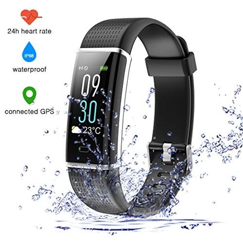 EUMI Écran Coloré Montre Connectée Smartwatch Podomètre Tracker d'Activité Bracelet Sport, Etanche IP68 Montre GPS Connectée pour Femme Homme Enfant