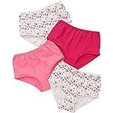 Just Essentials Damen Slips 4Stück Baumwolle Blumenmuster Hohe Taille Gr. 36, Coral-Pink