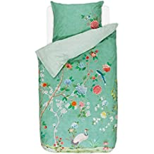 PIP Studio lenzuola Good Morning Verde Fiori Uccelli percalle, 100% cotone, verde, 155 x 220 cm + 80 x 80 cm